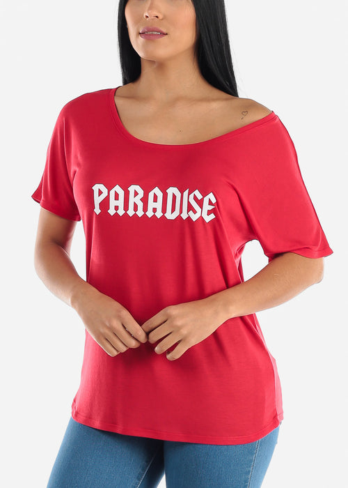 "Red Graphic Top ""Paradise"""
