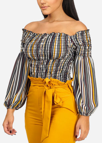 Multicolor Shirr Stripe Blouse
