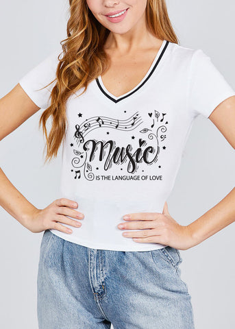 "White Graphic Top ""Music Is The Language Of Love"""