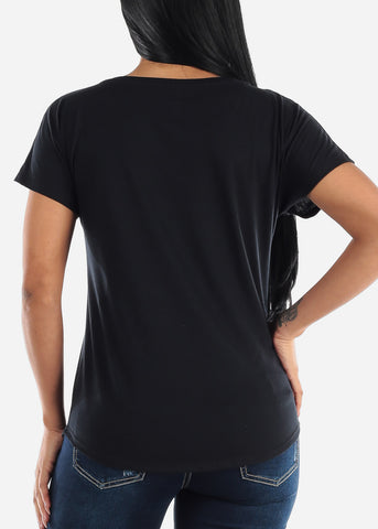 "Image of Black Graphic Top ""Unshy"""