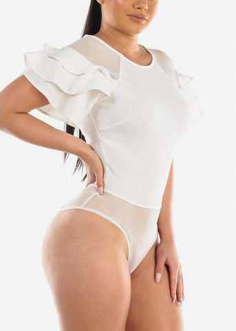 Sexy Mesh Ruffled White Bodysuit