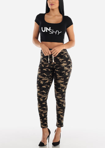 "Graphic Black Crop Top ""Unshy"""