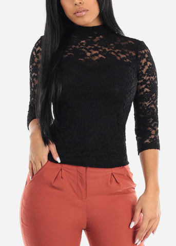 Black Lace Mock Neck Top