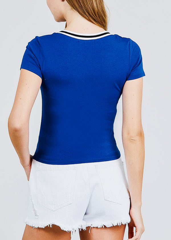 Royal Blue Graphic Top