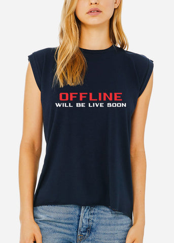 "Black Graphic Top ""Offline"""