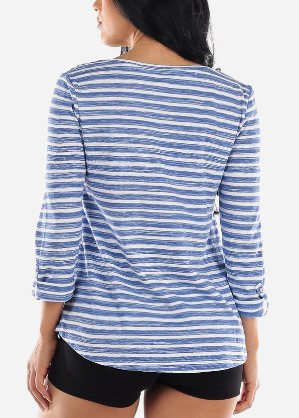 Blue Stripe Graphic Tunic Top
