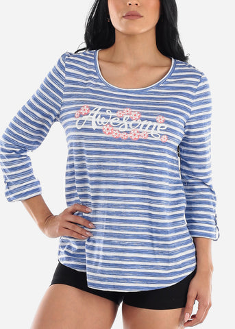 "Blue Stripe Graphic Tunic Top ""Awesome"""