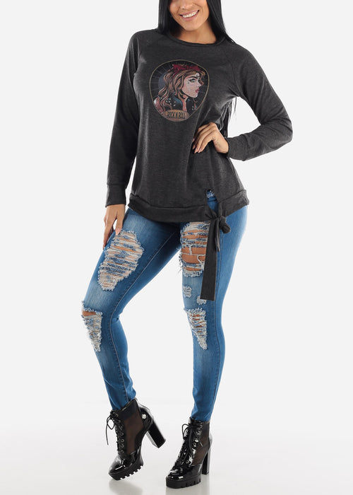 Rock'n'Roll Charcoal Graphic Pullover Top