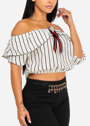 Cropped Ruffled White Stripe Top