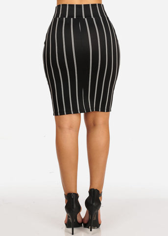 Image of Front Tie Black  Stripe Skirt