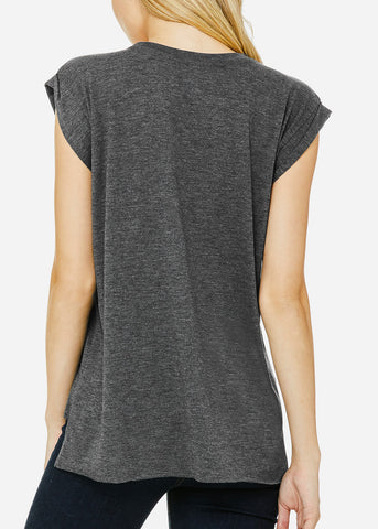Image of Dark Grey Flowy Rolled Cuffs Muscle Tee