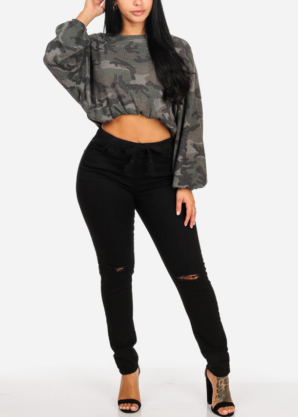 Casual Camouflage Top W Elastic Waist