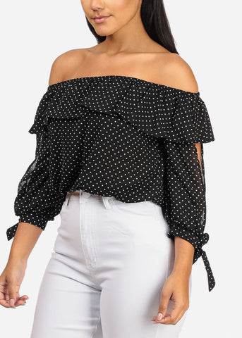 Lightweight Off Shoulder 3/4 Open Sleeve Ruffle Detail Black Polka Dot Top