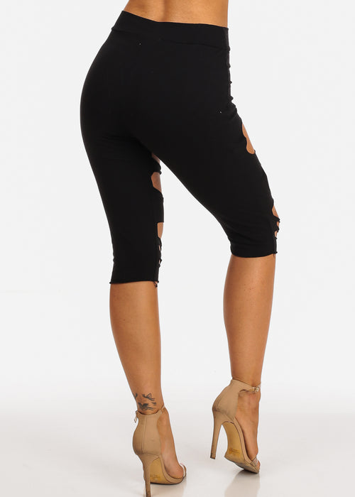 Black Distressed Capri Pants