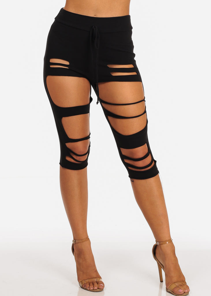 Casual High Rise Pull On Distressed Black Capri Pants