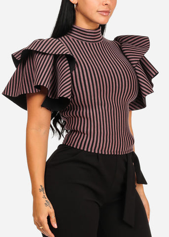 Elegant Ruffled Sleeve Stripe Top