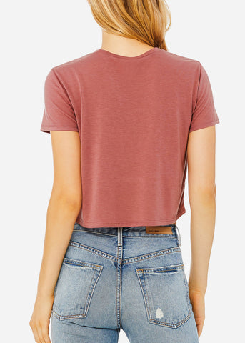 Image of Mauve Flowy Cropped Tee