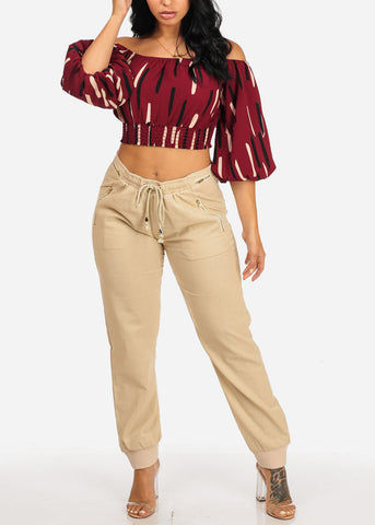 Stylish Off Shoulder Burgundy Crop Top