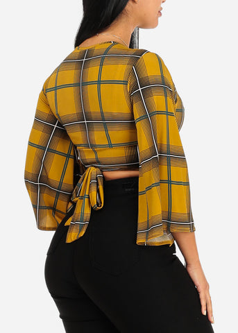 Image of Sexy Mustard Plaid Crop Top
