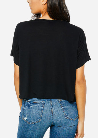 Image of Black Flowy Boxy Tee
