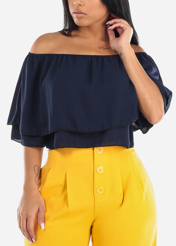 Navy Off Shoulder Ruffled Crop Top