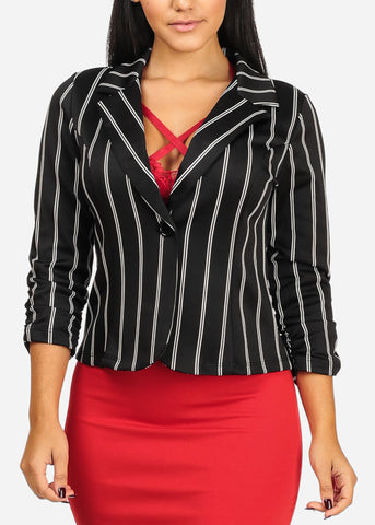 Image of Elegant Black Stripe Blazer