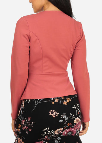 Image of Pink Stylish Peplum Blazer