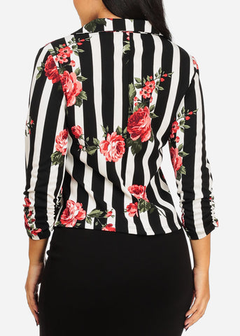 Stylish Floral And Stripe Print Blazer