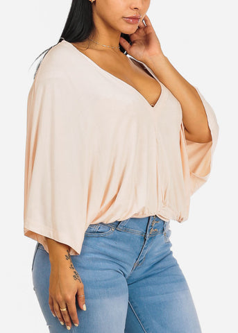 Cute Wide Sleeve Blush Blouse