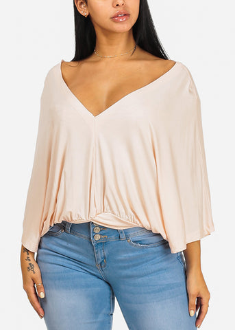 Image of Cute Wide Sleeve Blush Blouse
