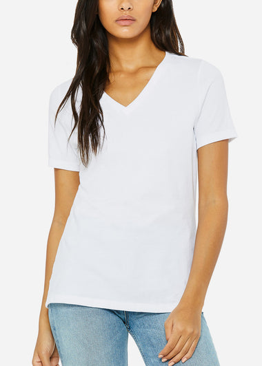 White Relaxed Jersey V-Neck Tee