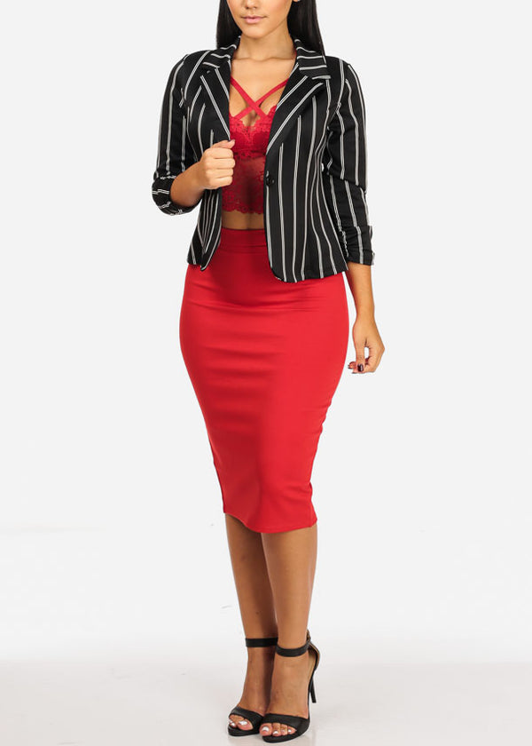 High Rise Red Pencil Midi Skirt