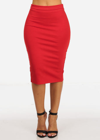 Image of High Rise Red Pencil Midi Skirt