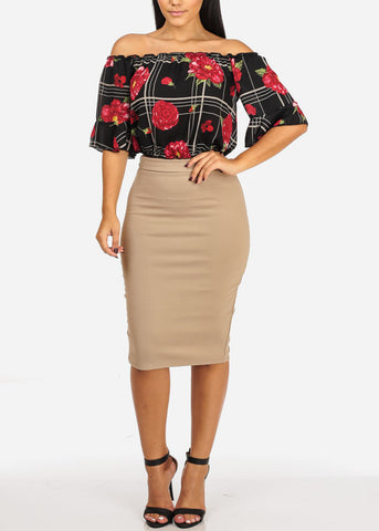 High Rise Khaki Pencil Midi Skirt