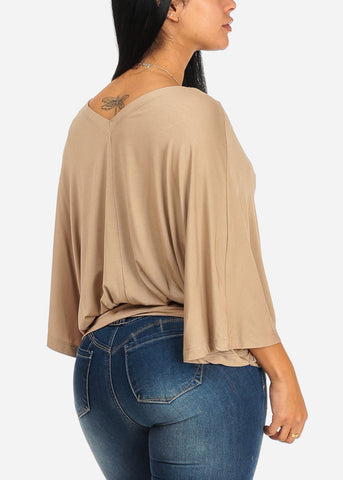 Image of Cute Wide Sleeve Khaki Blouse