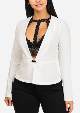 White Stylish Peplum Blazer
