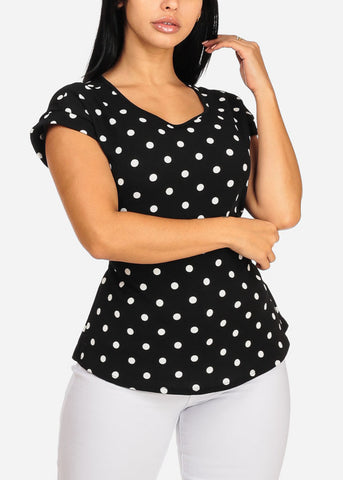 Black Polka Dot Top W Back Tie