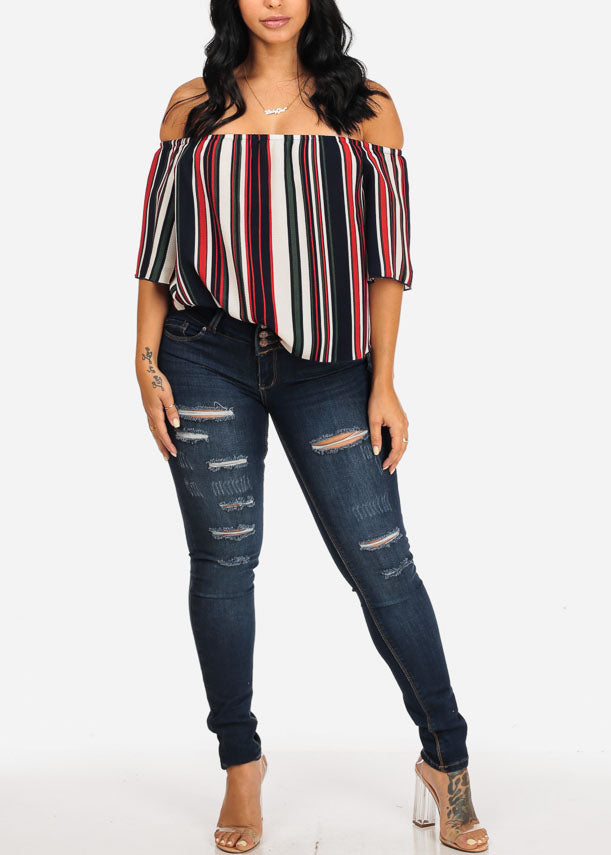 Navy Strip Off Shoulder Blouse