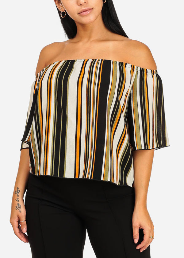 Green Stripe Off Shoulder Blouse