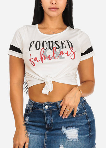 Focused Graphic Tie Front Crop Top