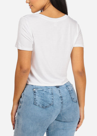 Image of Own Way Graphic White Crop Top