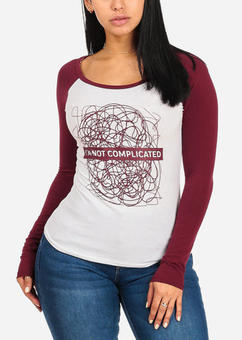 Complicated Graphic Burgundy Baseball T Shirt