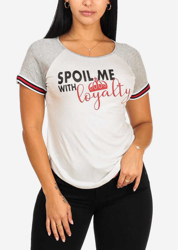 White And Grey Spoil Me Graphic Top