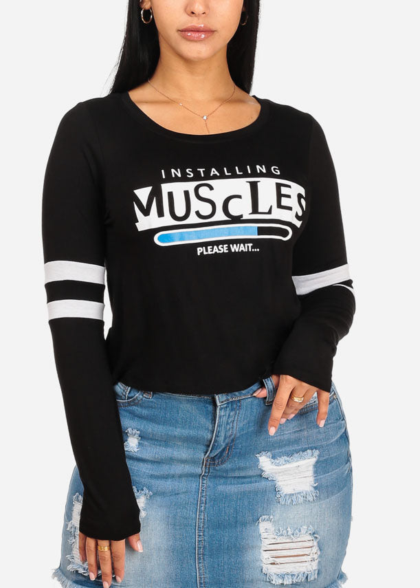 Muscles Graphic Black Long Sleeve Top