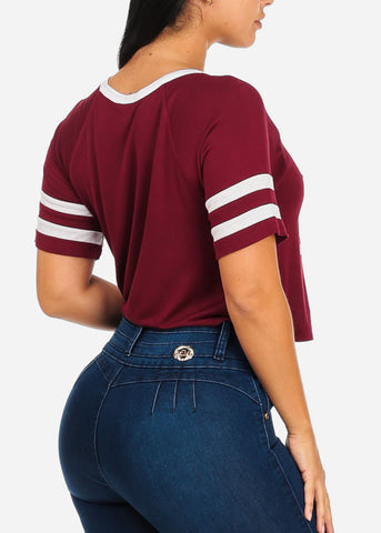 Image of Love Graphic Burgundy Crop Top