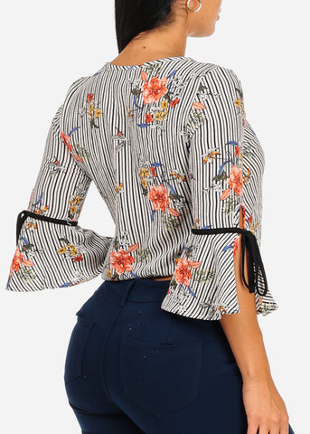 Lightweight Floral Stripe Print Top