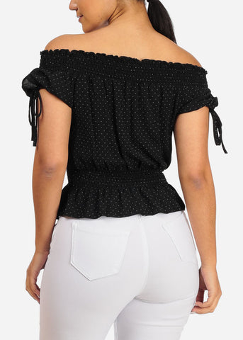 Image of Stylish Off Shoulder Black Polka Dot Top