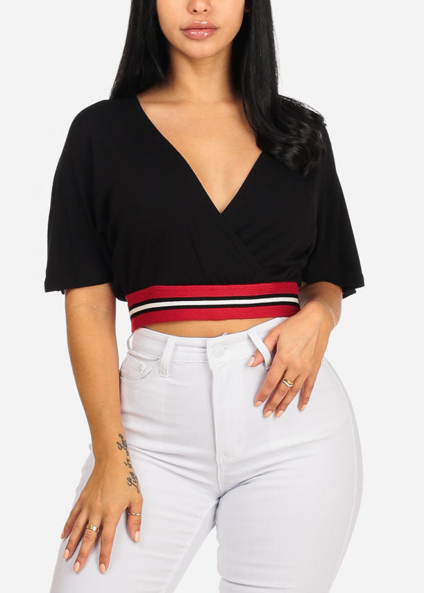 Sexy Stripe Detail Black Crop Top