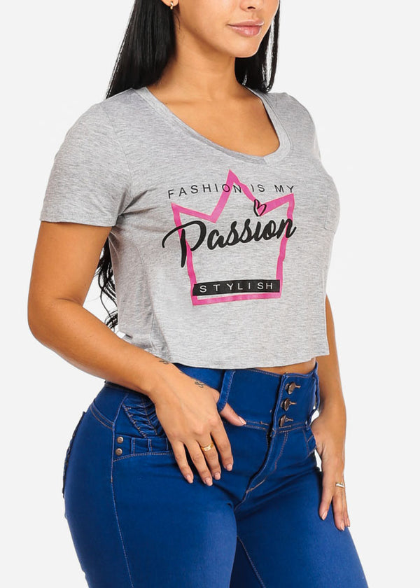 Passion Graphic Grey Crop Top