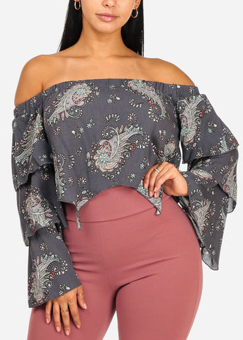 Image of Casual Asymmetrical Floral Crop Top